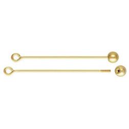 14 K Gold Filled Kettelstift met losse bal, 0.64 mm x 25 mm, per stuk