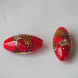 Grote glaskraal met groot gat, 45 x 22 mm, rood, per stuk