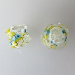 Glaskraal met groot gat, 22 x 20 mm, transp./silverfoil/millefiori, per stuk
