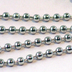 Edelstaal (316) RVS bolletjesketting, 2 mm,  verpakt per meter