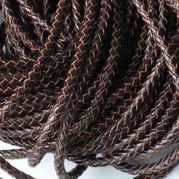 Gevlochten echt leer, bruin, 5 mm, per meter
