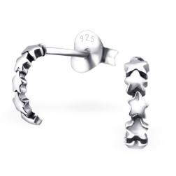 Sterling zilveren (925) oorstekertjes, halve creool met sterretjes, per paar