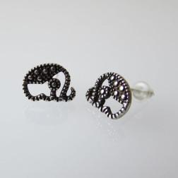 Sterling zilveren (925) oorsteker, olifant, 9 x 7 mm, per paar