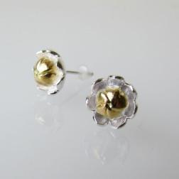 Sterling zilveren (925) oorsteker, bloem, 9.5 mm, verguld, per paar