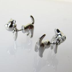 Zilverkleurige oorsteker, kat, poes, split oorbel, per paar
