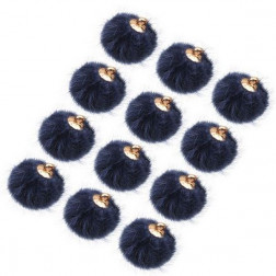Pompon, donkerblauw, 15 mm, per stuk, goudkleurige afwerking
