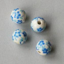 Porseleinen kraal, rond, 10 mm,  blauw-wit, per 50 stuks