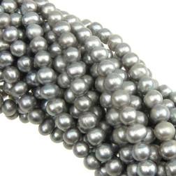 Zoetwaterparel, zilver, 8-9 mm, per streng