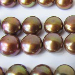Zoetwaterparel, bruin, halfdrilled, 7 mm, per paar