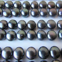 Zoetwaterparel, donkerpaars, halfdrilled, 7 mm, per paar