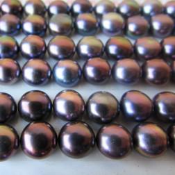 Zoetwaterparel, paars, halfdrilled, 7 mm, per paar
