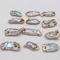 Zoetwaterparel-bedel, goldplated, beige, 10 x 20 mm, verpakt per stuk