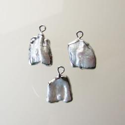 Zoetwaterparel-hanger, silverplated, wit, ongeveer 12 x 18 mm, verpakt per stuk
