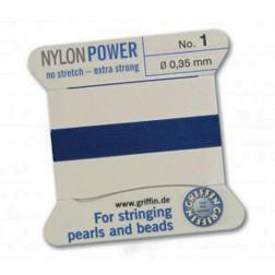 Griffin Nylon Power, donkerblauw, 0.35 mm  x 2 m, met naald