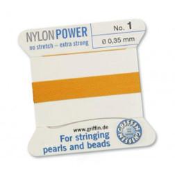Griffin Nylon Power, donkergeel, 0.35 mm  x 2 m, met naald