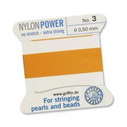 Griffin Nylon Power, donkergeel, 0.50 mm  x 2 m, met naald
