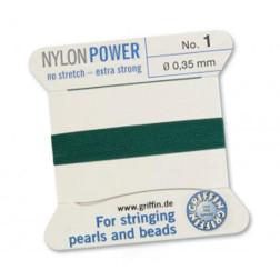 Griffin Nylon Power, groen, 0.35 mm  x 2 m, met naald