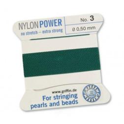 Griffin Nylon Power, groen, 0.50 mm  x 2 m, met naald