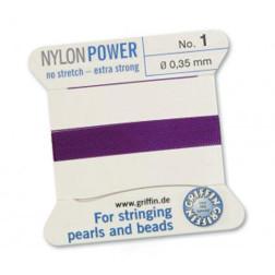 Griffin Nylon Power, amethist, 0.35 mm  x 2 m, met naald