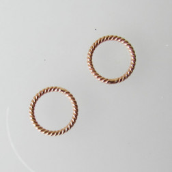 Roze gouden ring, twisted, 10 mm, 1 micron plated, per 10 stuks