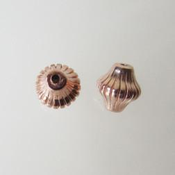 Roze gouden kraal, bicone, gestreept, rond, 6 mm, per stuk