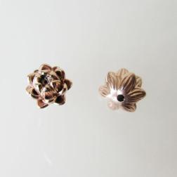 Roze gouden kraal, bloem, 9 x 12 mm, per stuk