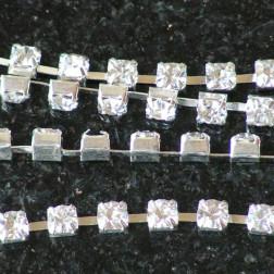 Rhinestone ketting, zilverkleurig, per 60 cm