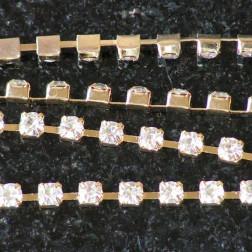 Rhinestone/strass ketting, 3 mm, goudkleurig, per meter