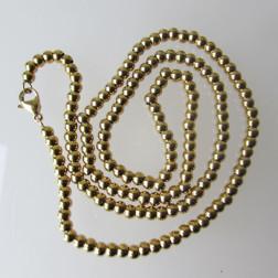 Vergulde edelstalen bolletjesketting, 50 cm, per stuk