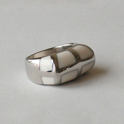 Edelstaal ring met witte inleg, maat 19