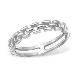 Sterling zilveren (925) ring, vaste schakels, aanschuifring, maat 18