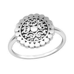 Sterling Zilveren (925) ring, bewerkte schotel 14 mm, maat 17.5