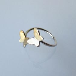 Sterling zilveren (925) ring, vergulde vlinders, verstelbaar, per stuk