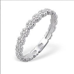 Sterling zilveren (925) ring, aanschuifring, bloemetjes, MAAT 16.5, per stuk