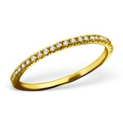 22 K Goud vermeil ring met zirkonia's, maat 15.5, per stuk