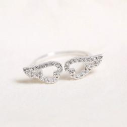 Sterling zilveren (925) ring, wings met zirkonia's, verstelbaar, per stuk