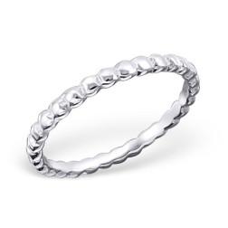 Sterling zilveren (925) ring, geribbeld, aanschuifring, MAAT 18, per stuk