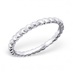 Sterling zilveren (925) ring, geribbeld, aanschuifring, MAAT 16.5, per stuk