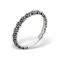 Sterling zilveren (925) ring, bloemetjes, oxidated, aanschuifring, MAAT 17.5, per stuk
