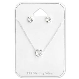 Sterling zilveren (925) setje, Hoef, oorstekers met bijpassende ketting