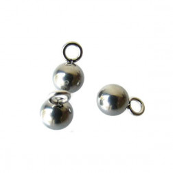 Edelstalen RVS bedeltje (316), bolletje, 6 mm, per 10 stuks