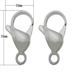 Edelstalen RVS lobsterslot(316), 10 x 16 x 5 mm, per 10 stuks