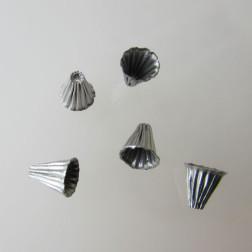 Edelstaal (316) RVS kralenkap, 6 x 7 mm,  verpakt per stuk