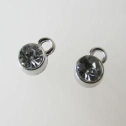 Edelstalen bedel, kristal, 6 mm, verpakt per stuk