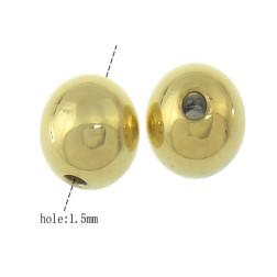 Edelstalen kraal, Gold plated, 4 mm,  verpakt per 50 stuks