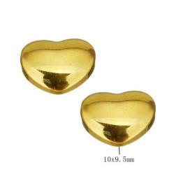 Vergulde edelstalen kraal, Hartje, 10 mm, topdrilled, per stuk