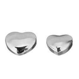 Edelstalen kraal, Hartje, 10 mm, topdrilled, per stuk
