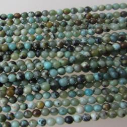 Turkooise kraal, turquoise, 2 mm, per streng