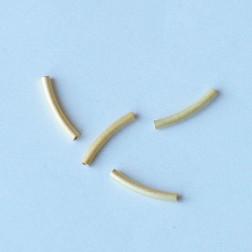 22 K Goud vermeil buisje, 15 x 2 mm, gebrushed-gebogen, verpakt per 20 stuks