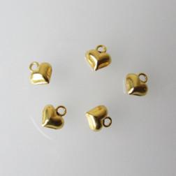 22 K Goud Vermeil bedeltje, hartje, 8.7 x 7.7 mm, 1 micron plated, per stuk